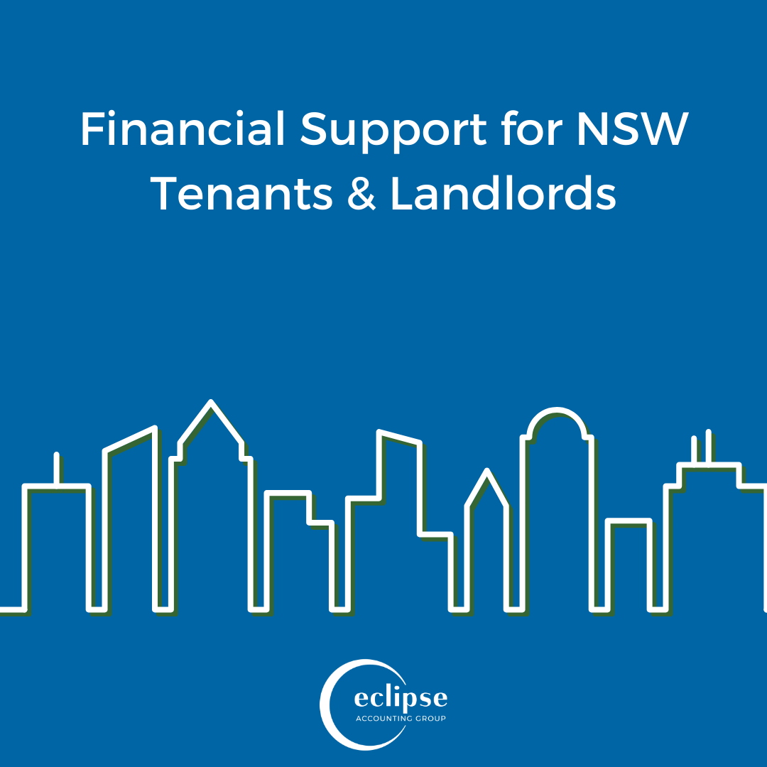 """Blue Background """"Financial Assistance for NSW Tenants & Landlords"""" city skyline, eclipse logo"""